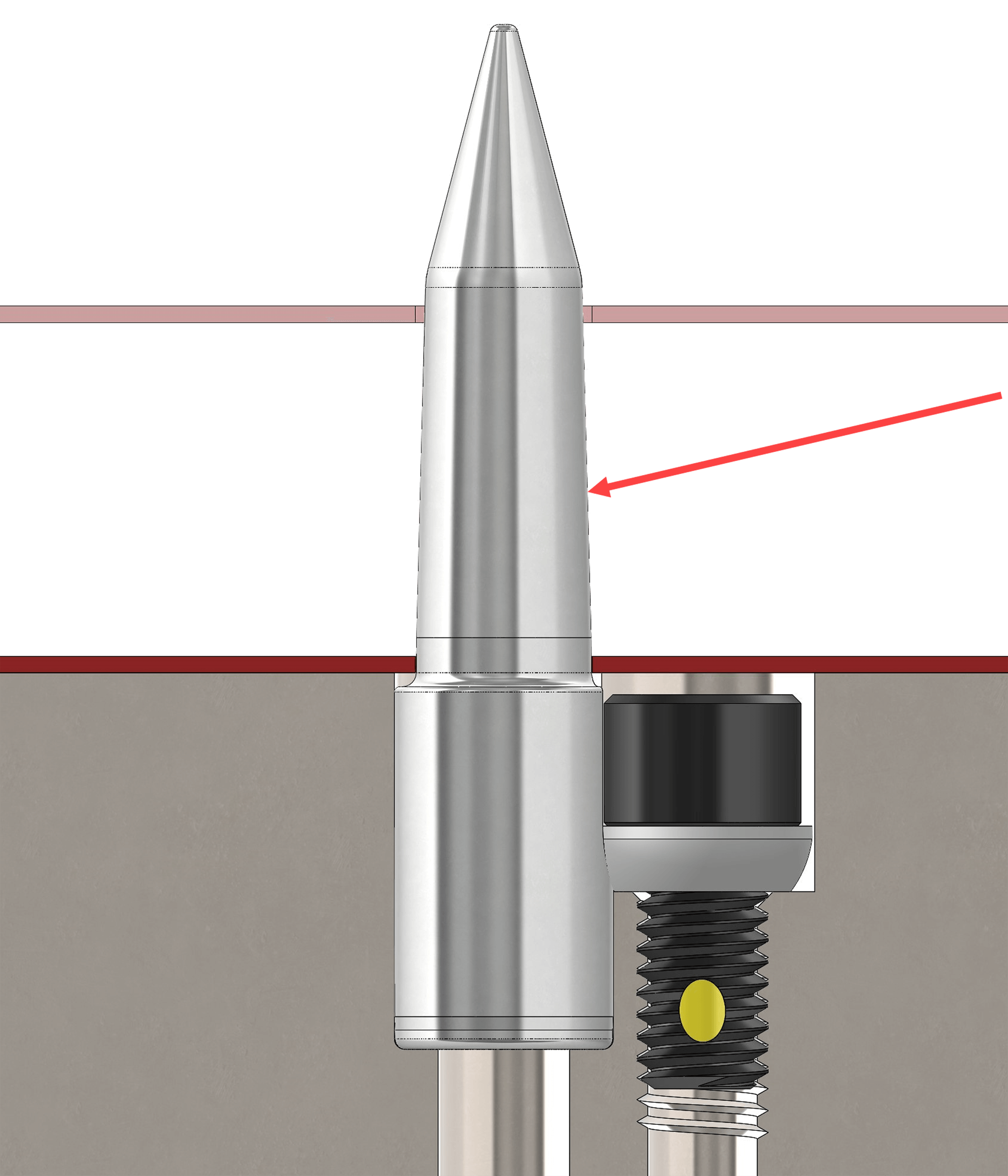 Tapered Pilot illustration with ideal 3 degree taper