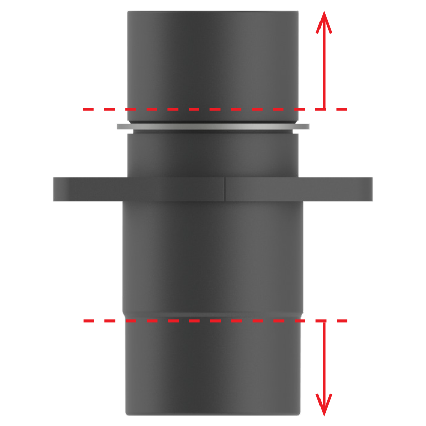 Black base with red arrows labeling height