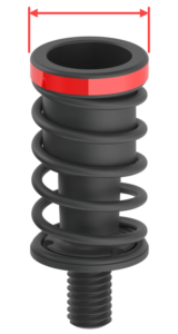 1.0mm Black ejector with red arrows labeling diameter