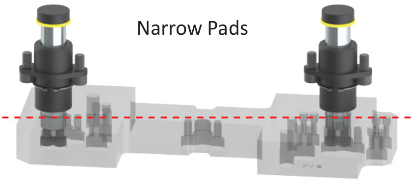 Labeled Narrow Pads with 2 guided keepers and red measurement line