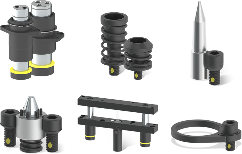 All products including Guided Keepers, Ejectors, Tapered Pilot, Pilot Assembly, Rail Lifter, Gas Spring Clamps