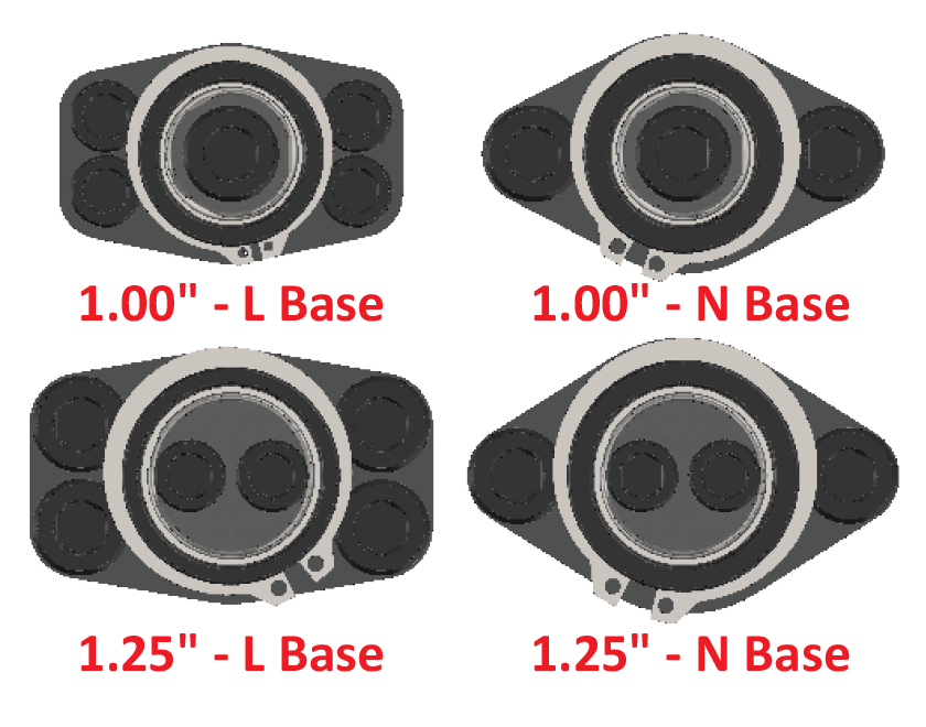 Base options for Guided Keepers labeled by size and L or N base