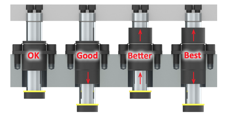 Guided Keeper bushing length example of four bushings and which lengths and placement in die are best for strength and die performance.