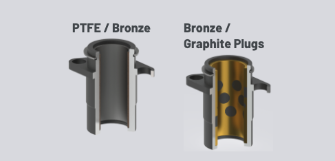 labeled bases for machine tooling PTFE/Bronze interior and Bronze/Graphite Plugs